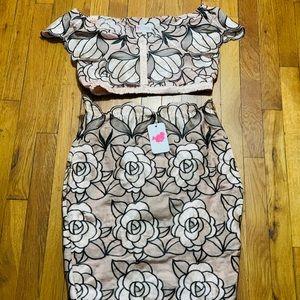 Fashion Nova Two Piece Crop Top & Skirt Set